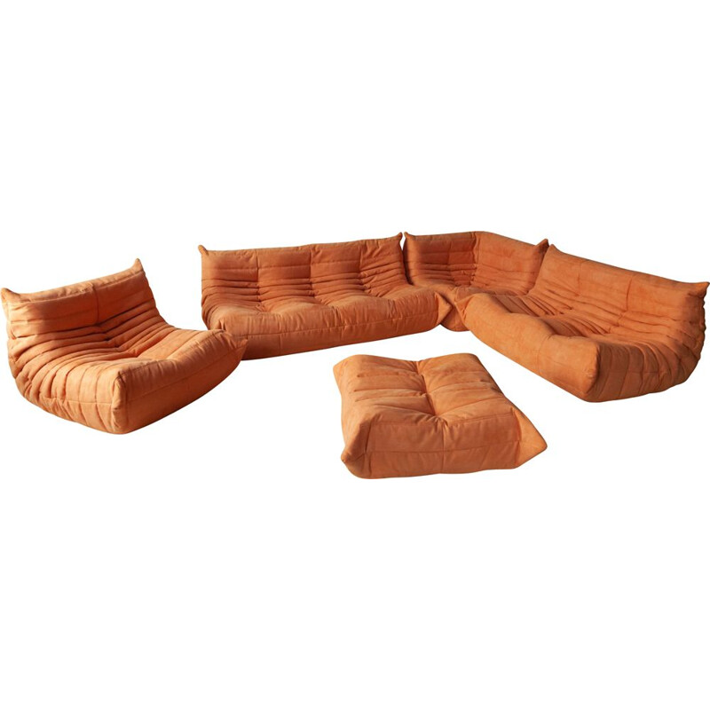 Vintage living room set orange Togo Michel Ducaroy for Ligne Roset, 1970s