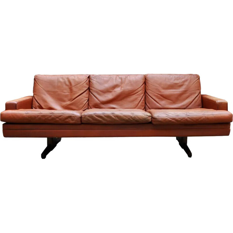 Vintage Leather and Rosewood 3 seaters sofa Fredrik Kayser 1965