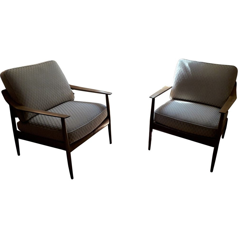 Pair of vintage cherrywood armchairs by Walter Knoll 1960