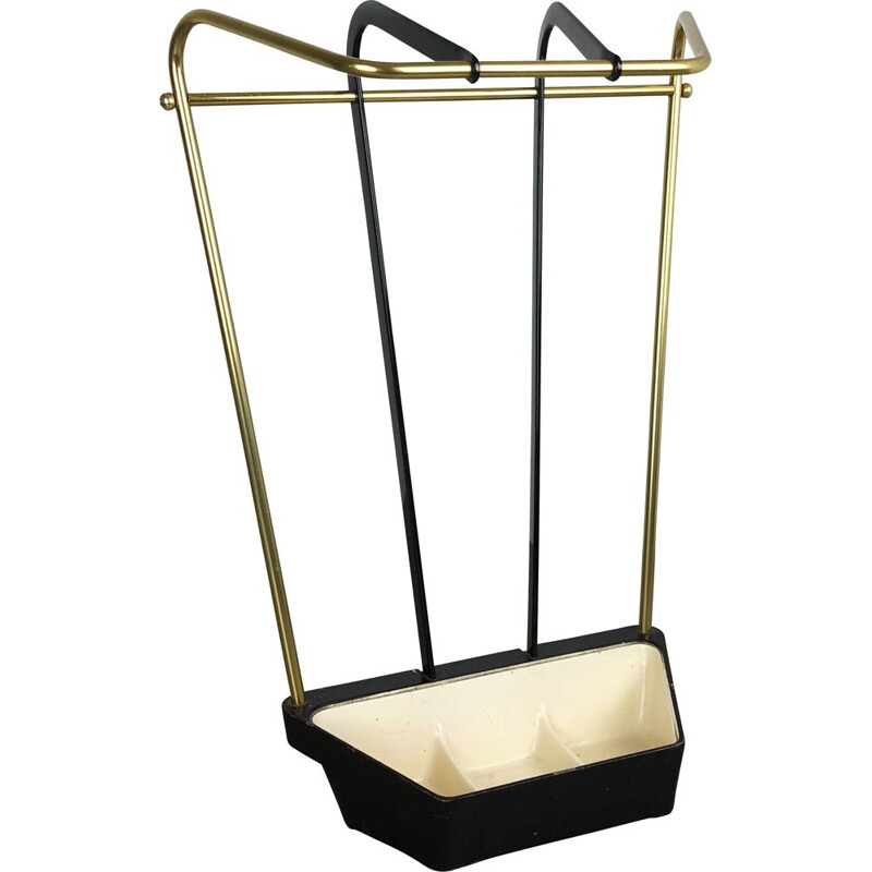 Vintage Metal Brass Umbrella Stand 1950s
