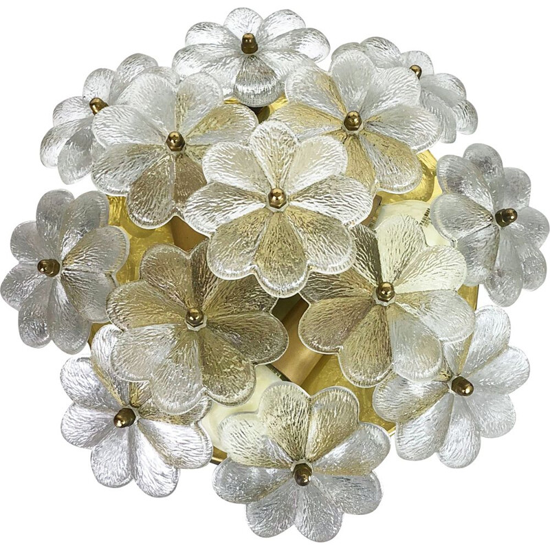Vintage large Floral Glass & Brass Ceiling Wall Light by Ernst Palme 1970s