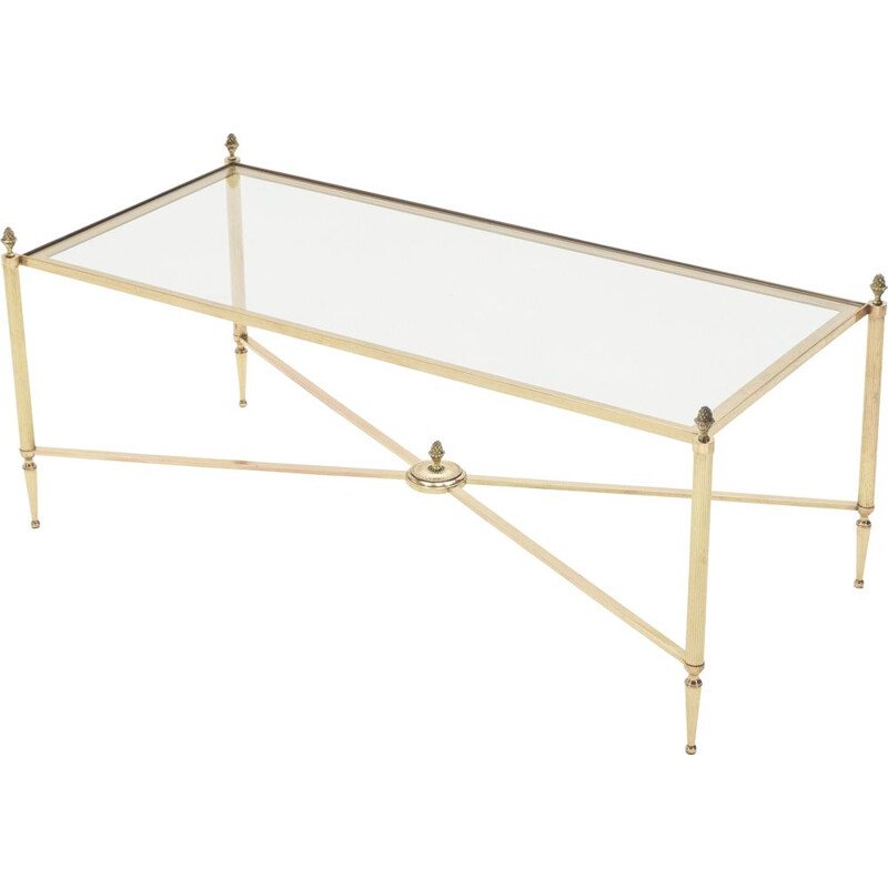Vintage coffee table for Maison Baguès in brass and glass 1950