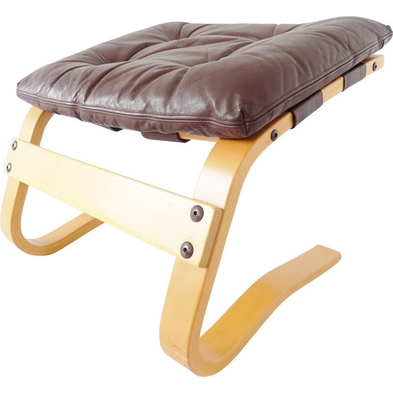 Vintage Kengu footrest for Rykken in brown leather 1960