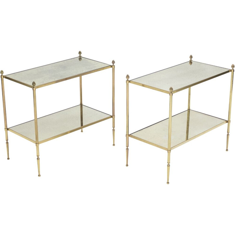 Pair of vintage tables for Maison Baguès in mirror and brass 1950