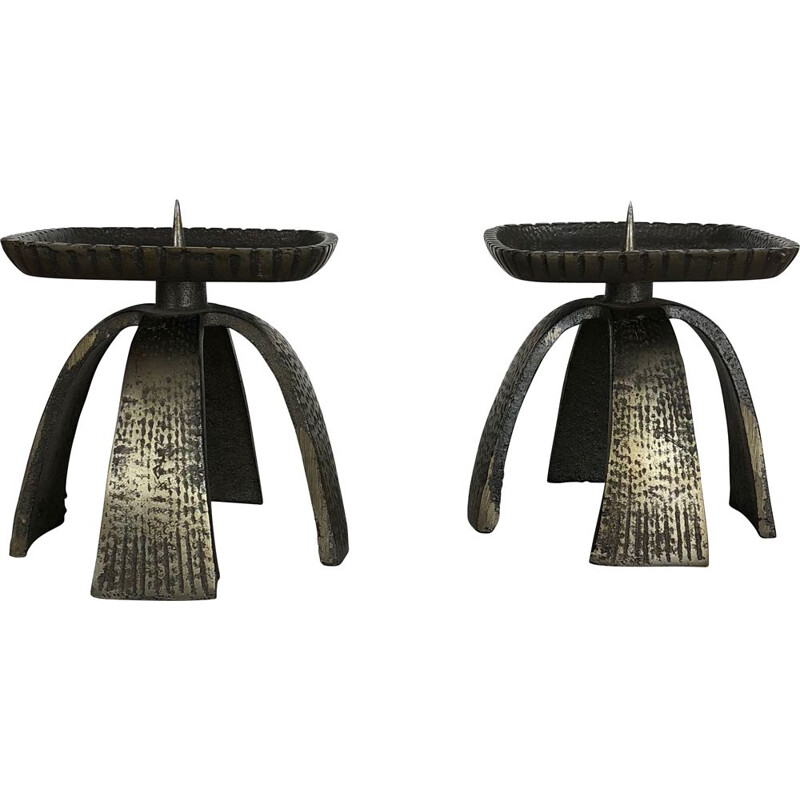 Set of 2 vintage french candleholders in black metal 1950