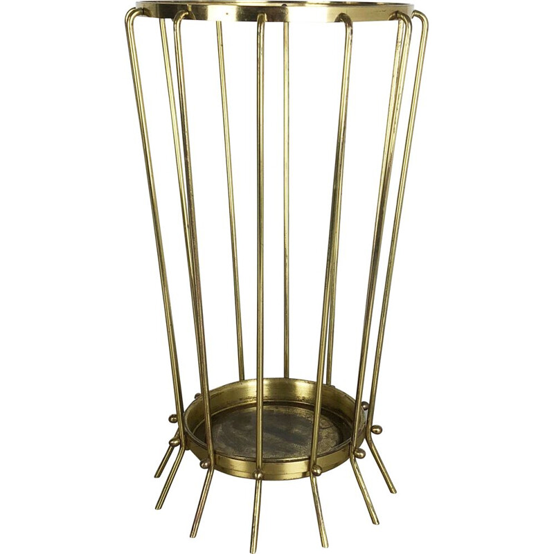 Vintage umbrella stand in brass and metal 1960