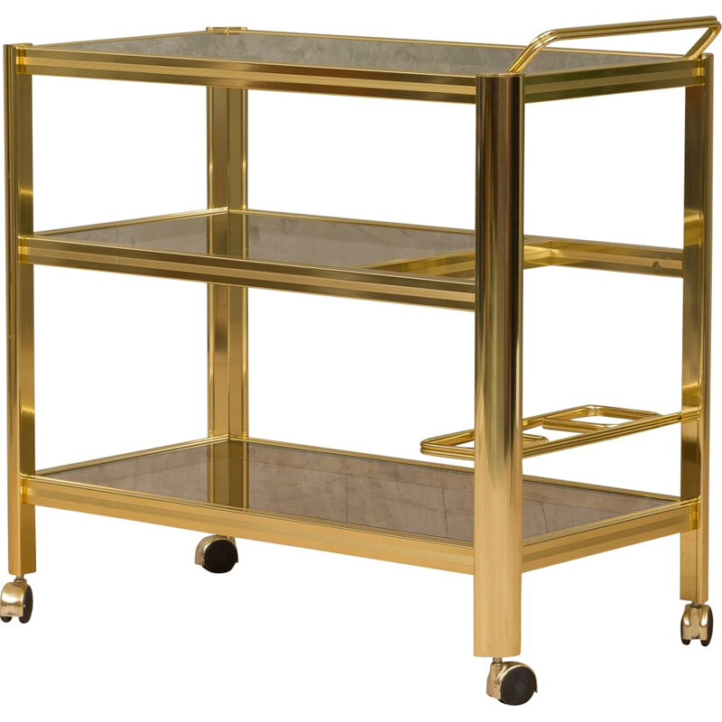 Vintage italian trolley in polished brass and smoked glass 1970