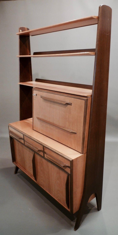 Vintage Modular Bookcase In Birch And Walnut 1950