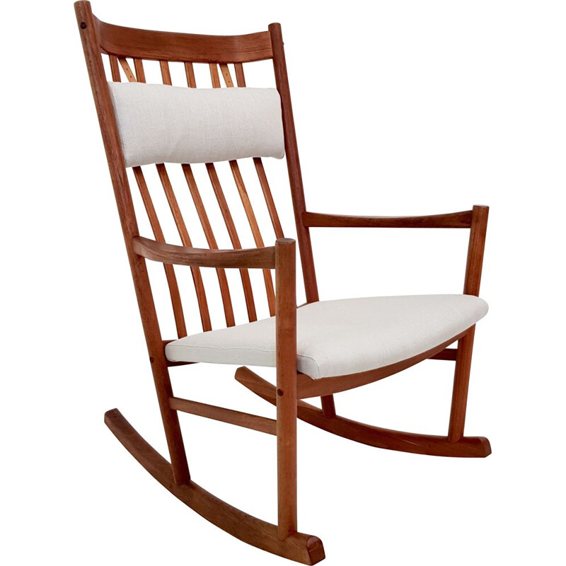 Vintage scandinavian rocking chair in teakwood and white fabric 1960