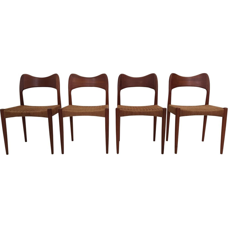 Set of 4 vintage chairs by Arne Hovmand Olsen in teak and rope 1960