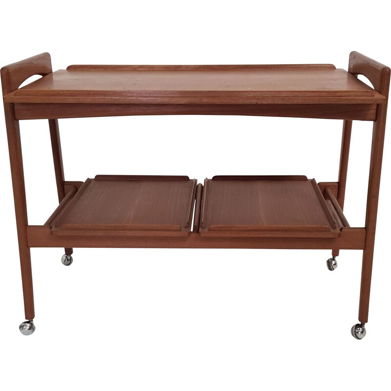 Vintage scandinavian trolley in teakwood with removable trays 1960