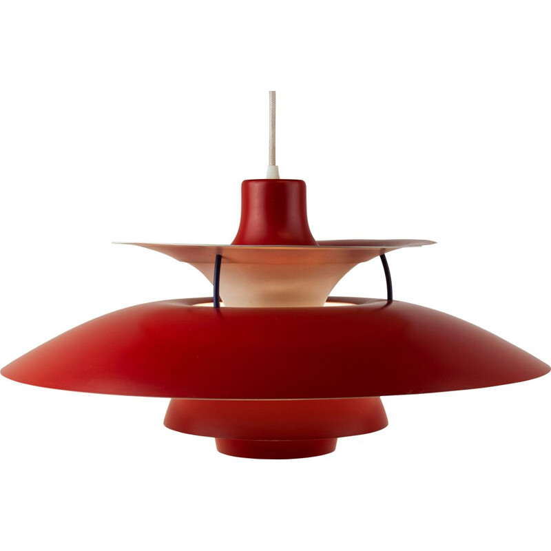 Vintage PH 5 pendant lamp for Louis Poulsen in red aluminium 1960