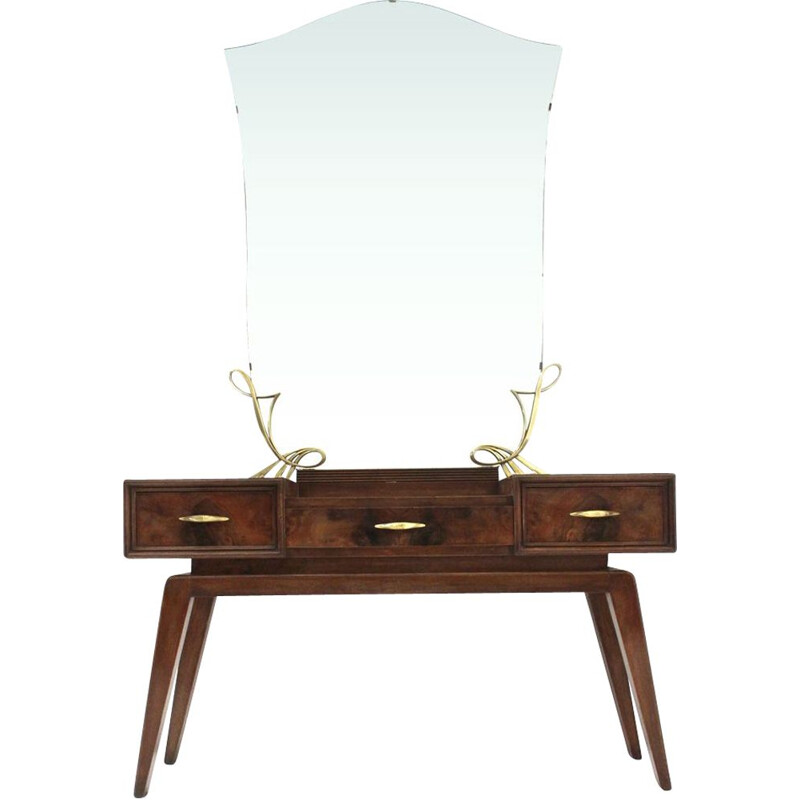 Vintage italian dressing table with mirror in wood and brass 1950