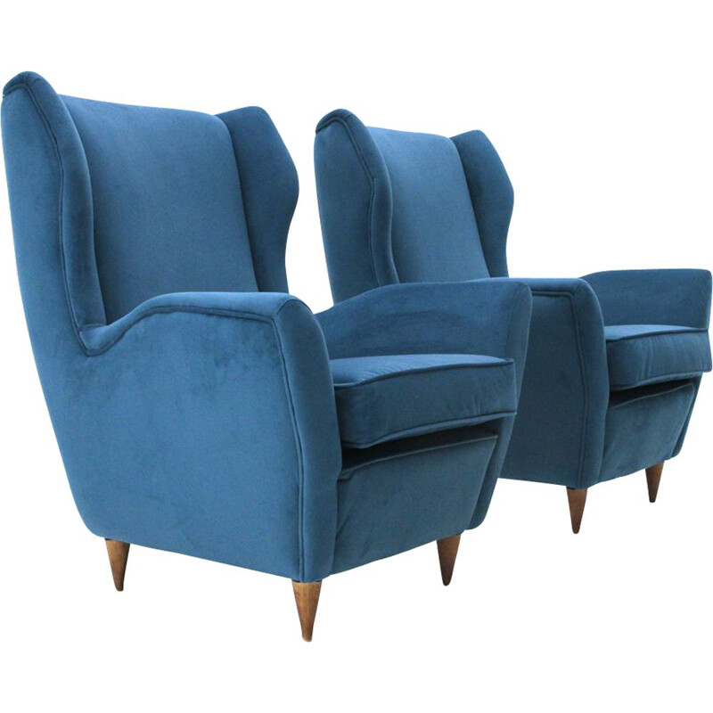 Set of 2 vintage italian armchairs in blue velvet and wood 1950