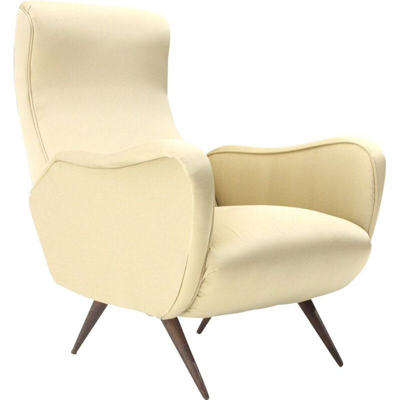 Vintage italian armchair in white silk and wood 1950