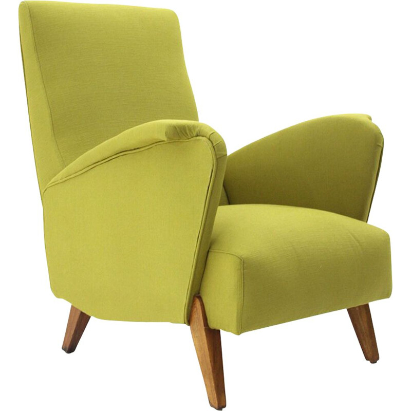 Vintage italian armchair in green fabric and wood 1940