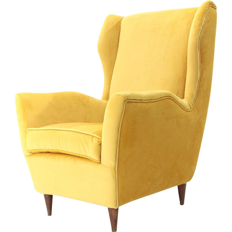 Vintage italian armchair in yellow velvet and wood 1950