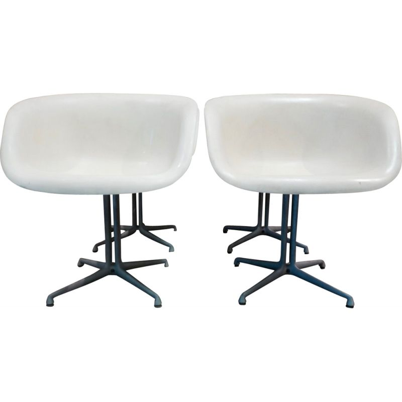 Set of 4 vintage white La Fonde armchairs for Herman Miller in aluminum 1960