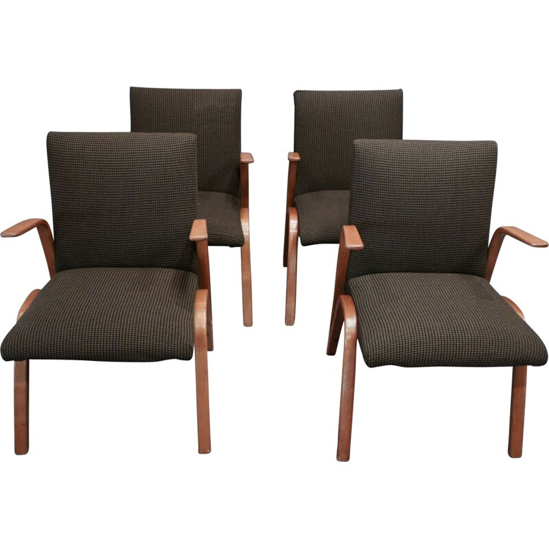 Set of 4 vintage french armchairs in ashwood and brown fabric 1950