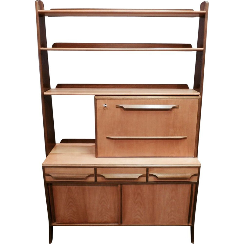 Vintage modular bookcase in birch and walnut 1950