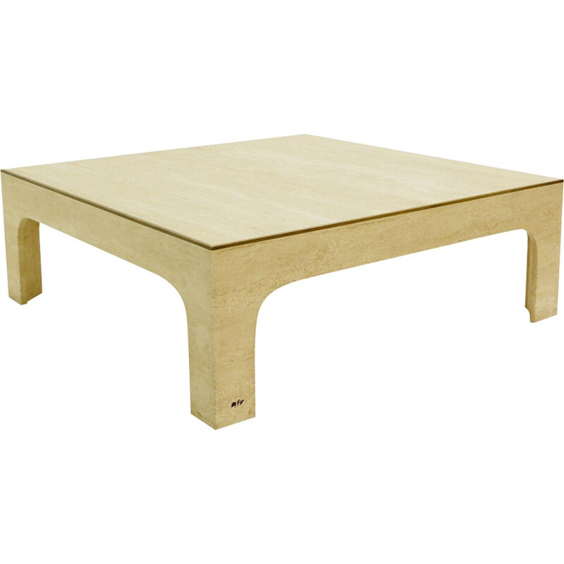 Vintage coffee table by Rizzo in white travertine 1970