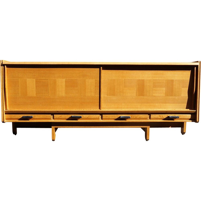 Vintage sideboard by Guillerme and Chambron in light oak