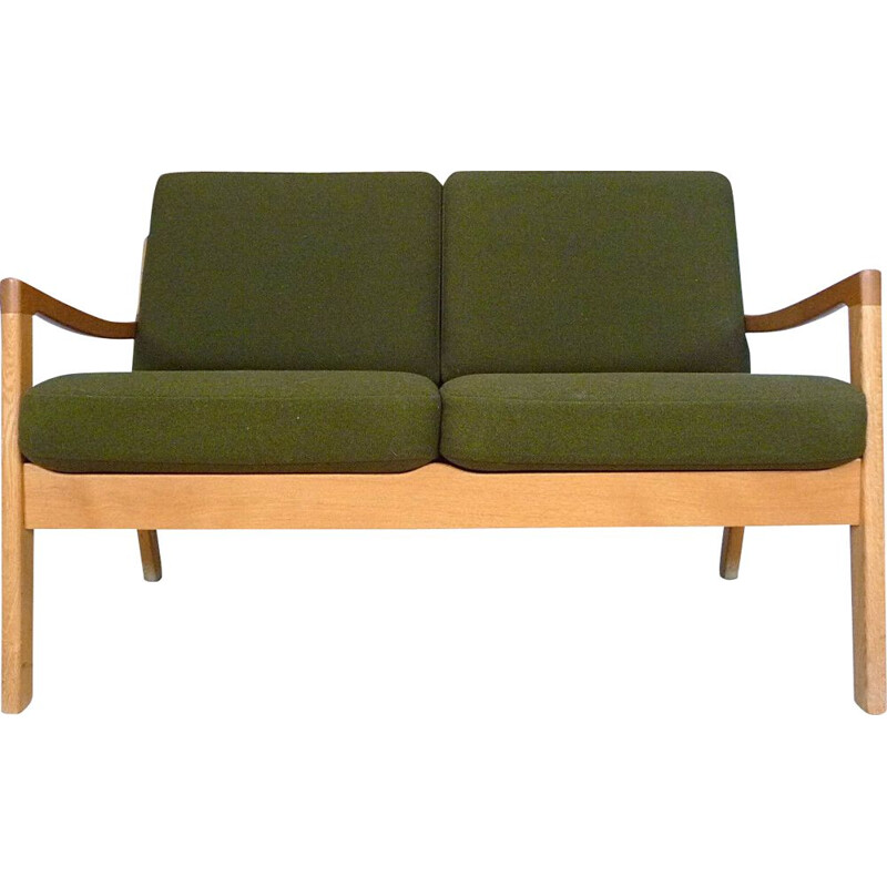Vintage Senator sofa for Cado in green wool and oakwood 1960