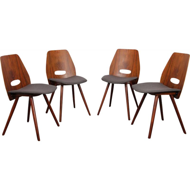 Set of 4 vintage chairs by Jirak in grey fabric and wood 1960