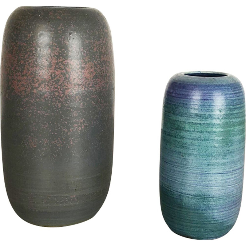 Pair of vintage vases in ceramic Studio Pottery by Piet Knepper for Mobach Netherlands 1970s