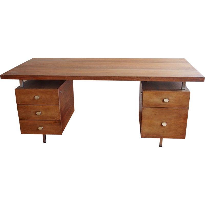 Vintage desk in walnut France 1970s