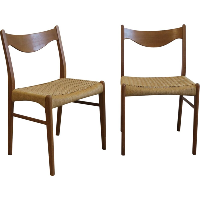 Pair of vintage chairs in rope by Aksel Bender Madsen for Glyngore Stolefabrick Scandinavian