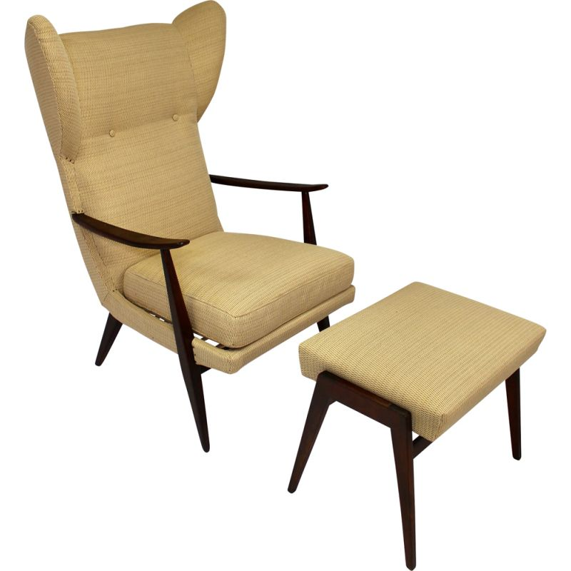 Vintage armchair and ottoman by Walter Knoll editions Knoll Antimott 1950s