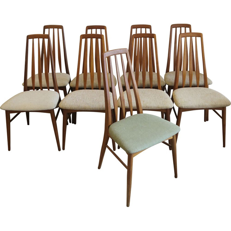 Set of 9 vintage chairs Eva by Niels Koefoed for Koefoeds Möbelfabrik, Hornslet, Denmark