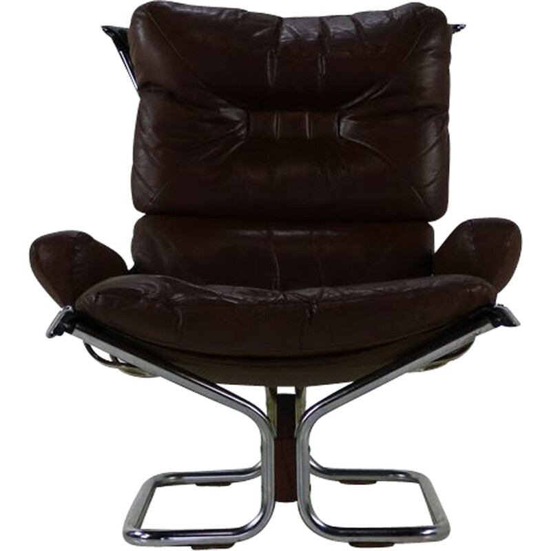 Vintage armchair brown leather by Ingmar Relling for Westnova Norway