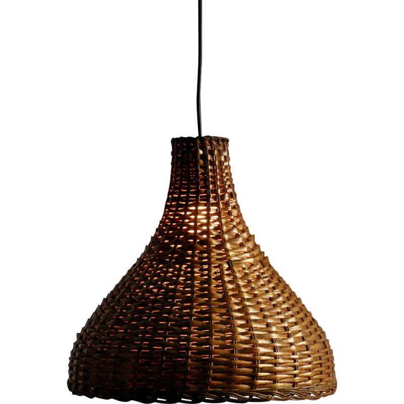 Vintage pendant light in wicker from the 60s
