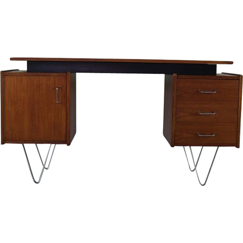 Vintage desk in teak with steel hairpin legs Dutch