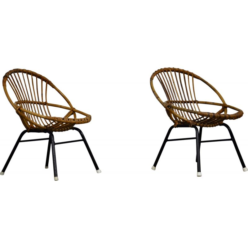 Pair of vintage armchairs for children in rattan by Rohe Noordwolde, 1960s
