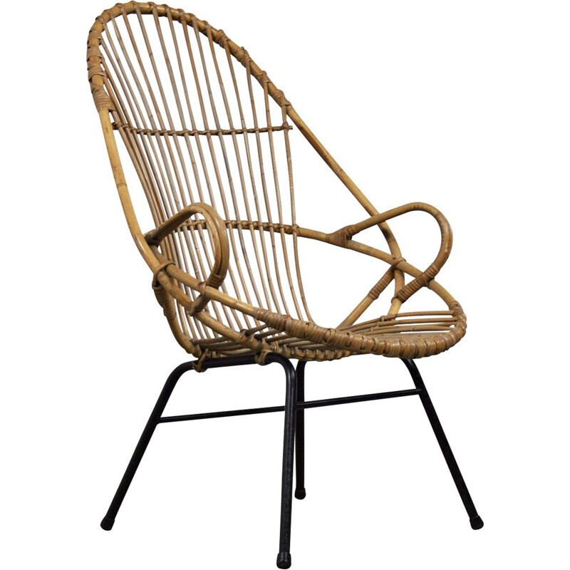 Vintage lounge chair in rattan by Rohe Noordwolde, 1960s