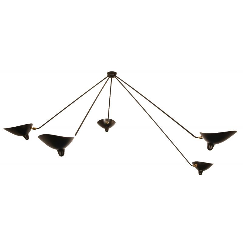 "Hanging lamp ""Araignée"" with  5 fixed arms by SERGE MOUILLE"