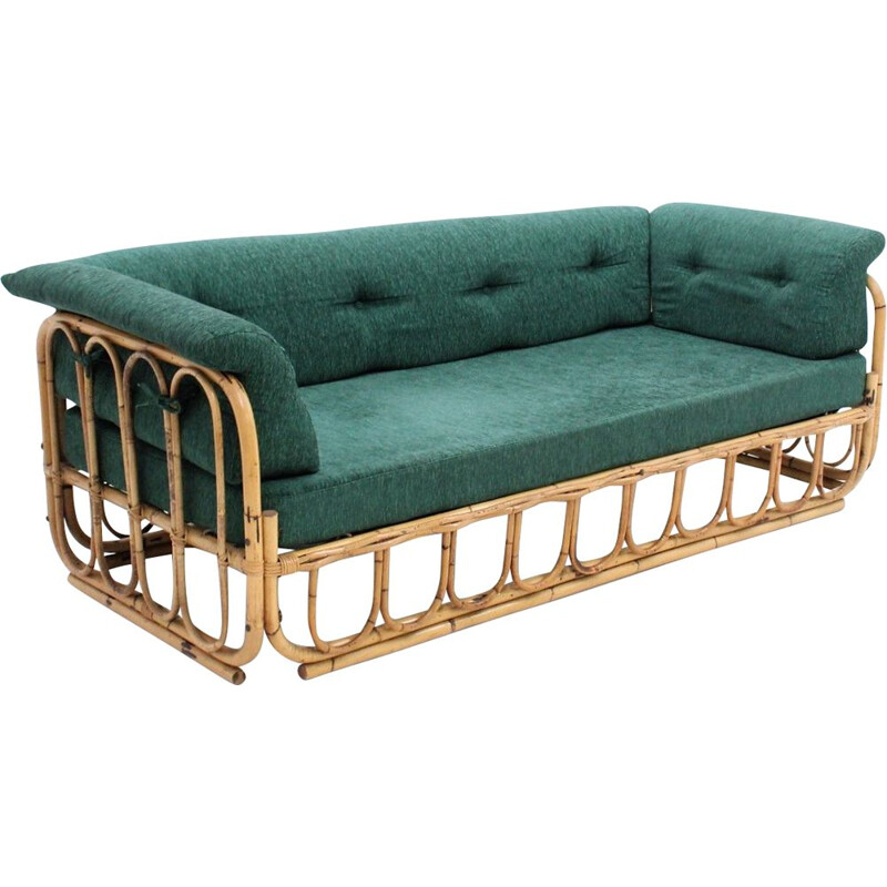 Vintage 3 seater sofa in rattan by Bonacina 1970s