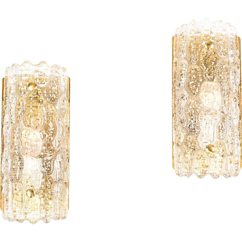 Vintage glass and brass sconces by Carl Fagerlund Orrefors, set of 2