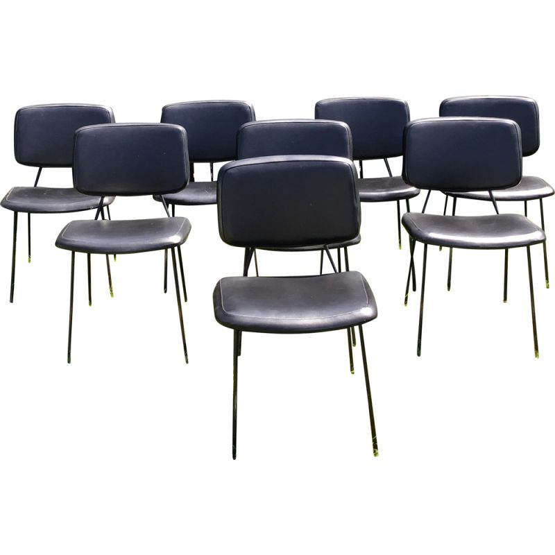 Set of 8 chairs CM196 by Pierre Paulin