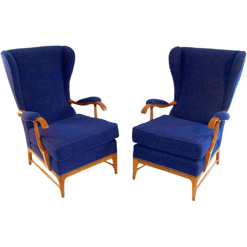 Pair of blue vintage armchairs by Paolo Buffa for Framar