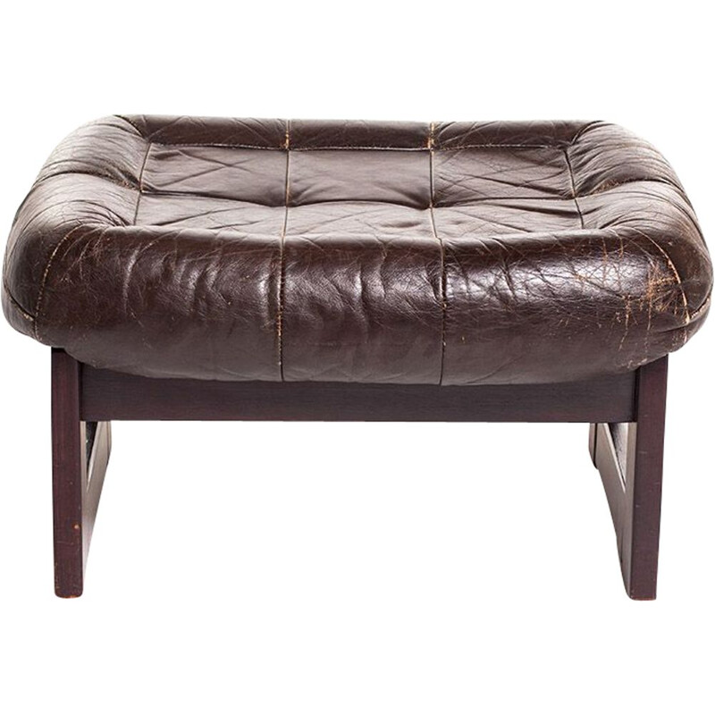 Vintage leather and wood ottoman by Percival Lafer
