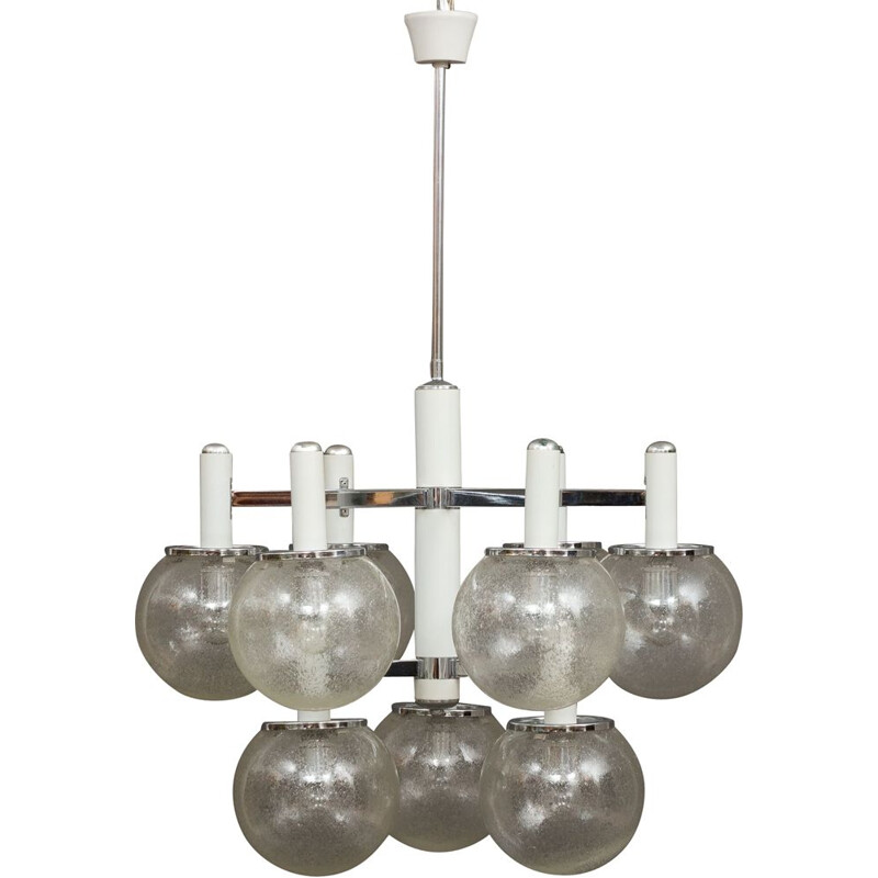 Vintage chandelier with Murano glass shades by Gaetano Sciolari