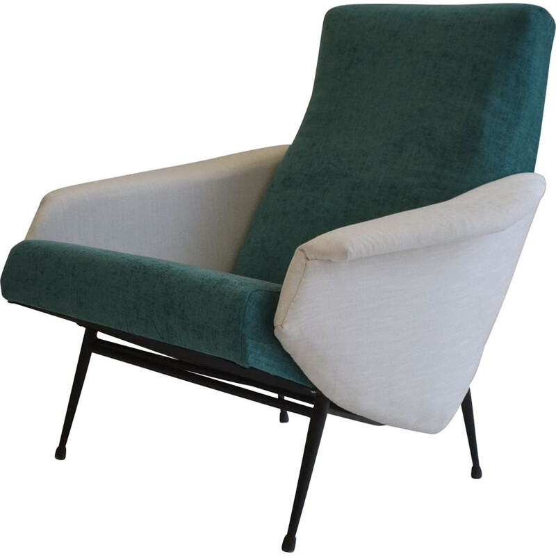 Vintage armchair duck blue by GUY BESNARD