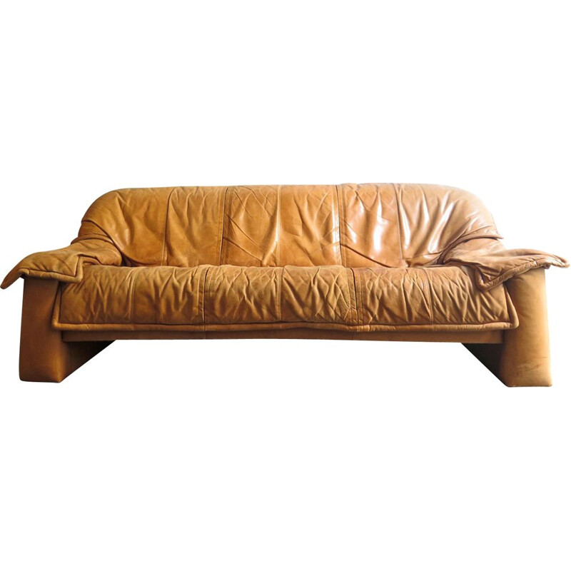 Vintage 3-seater sofa in cognac leather