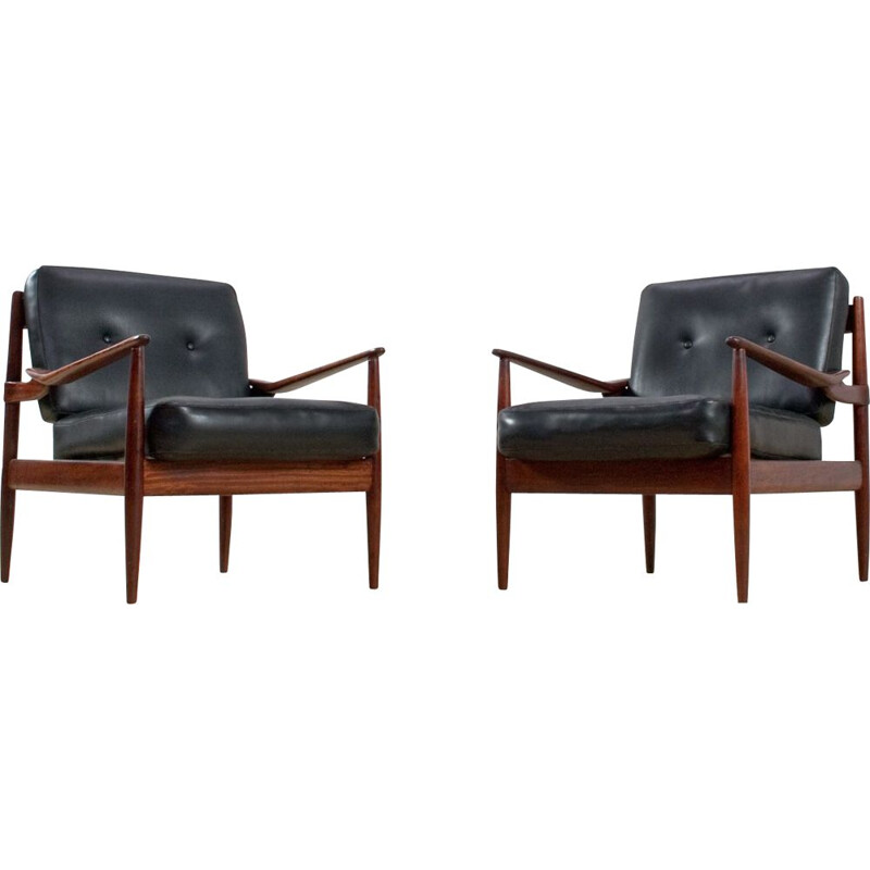 Pair of rosewood and black leatherette armchairs by Grete Jalk