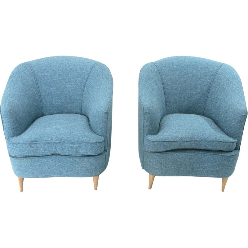 Pair of vintage Italian armchairs in azure blue fabric