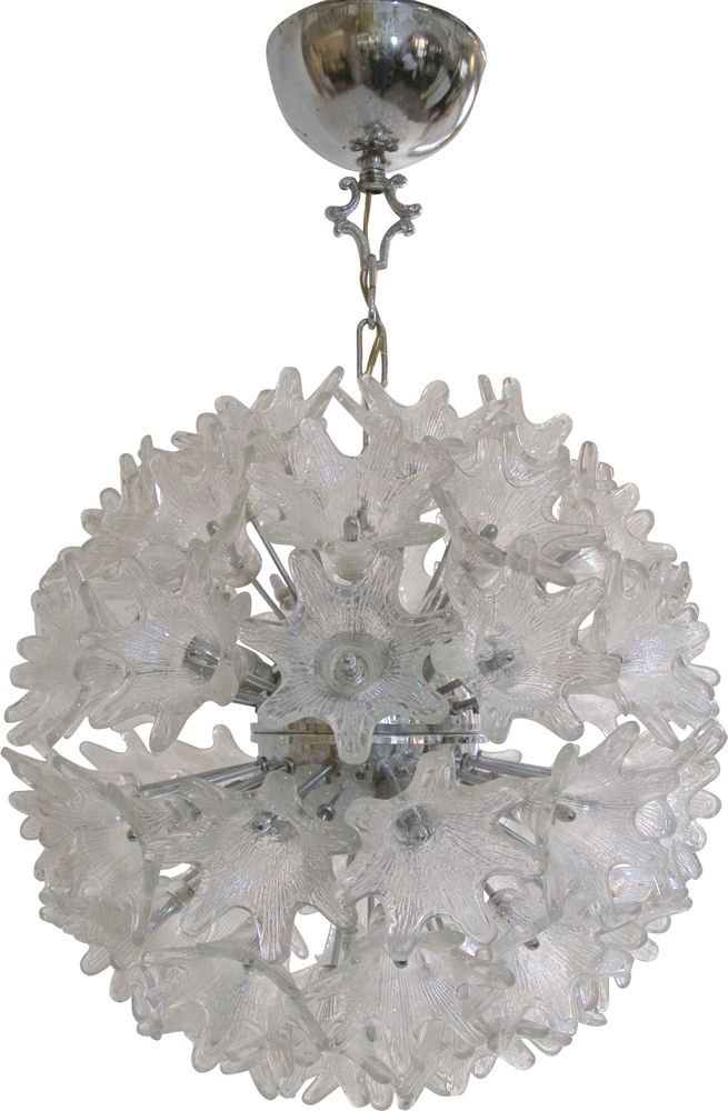 Sputnik Chrome and Glass Flowers Chandelier by Paolo Venini